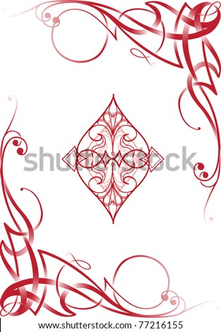 Tribal decorative style diamond ace poker playing cards, vector illustration re-sizable.