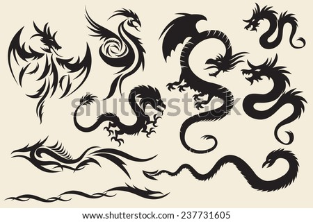 tribal dragons set of the