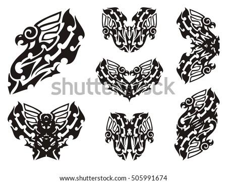 Tribal Eagle Set Stylization Of An Eagle And Double Eagle Symbols