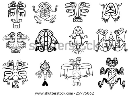 stock vector : tribal ethnic tattoos