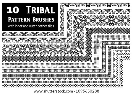 Tribal, ethnic vector pattern brushes with inner and outer corner tiles. Perfect for creating design elements, geometric ornament, frames, borders and more. All used brushes included in brush palette. #1095650288