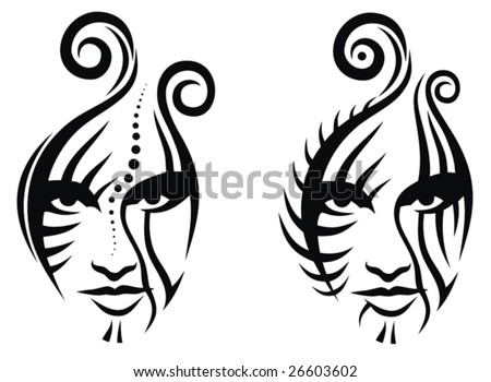 stock vector : Tribal face tattoo