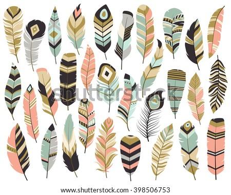 Shutterstock Tribal Feathers Mint, Coral, Navy and Gold Vector Set