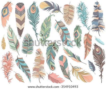 tribal feathers vector set
