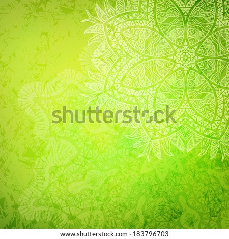 Tribal flower green abstract background vector illustration