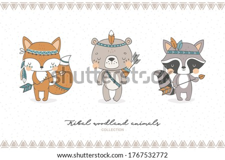 Tribal forest animal collection. Cute fox, bear, raccoon baby characters. Hand drawn cartoon icon design vector illustration.