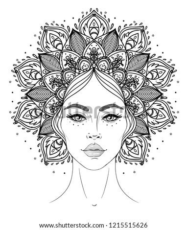 Tribal Fusion Boho Diva. Beautiful Asian divine girl with ornate crown, kokoshnik inspired. Bohemian goddess. Hand drawn elegant illustration. Lotus flower, ethnic art, patterned Indian paisley.
