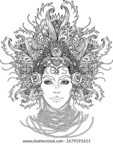 Tribal Fusion Boho Goddess. Beautiful divine diva girl with ornate crown, kokoshnik inspired. Bohemian goddess. Hand drawn elegant illustration. Lotus flower, ethnic art, patterned Indian paisley.