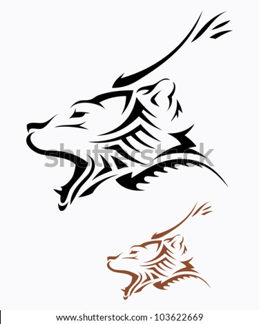 Tribal grizzly bear tattoo - vector illustration
