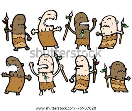 stock vector tribal guys cartoon collection