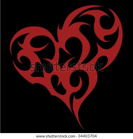 stock vector : Tribal Heart Tattoo