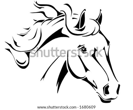 tribal horse tattoo. stock vector : Tribal horse