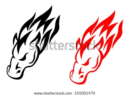 Tribal horse head in red and black versions for tattoo design, such logo. Jpeg version available in gallery