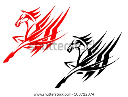Tribal horse in black and red version for tattoo design, such logo. Jpeg version also available in gallery