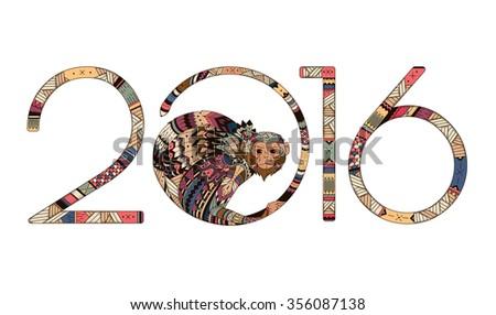 tribal illustration of a monkey