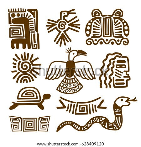 Tribal indian patterns or ancient mexican symbols vector illustration