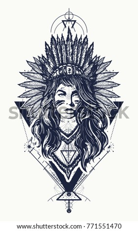 Tribal indian woman tattoo and t-shirt design. Ethnic girl warrior