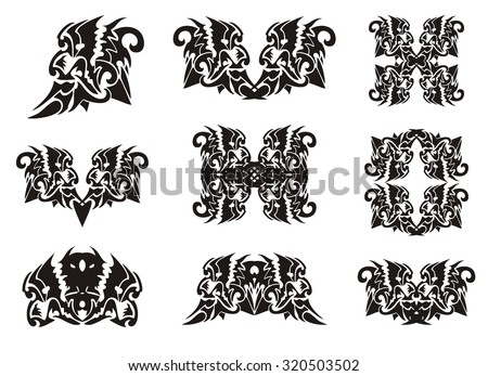 Tribal Lion Head Elements In Dragon Form Symbols And Frames Of The