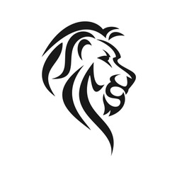 tribal lion head, side view vector