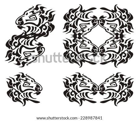 Tribal Lion Head Symbols Black On The White Ez Canvas