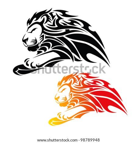 tribal lion in jump tattoo - vector illustration