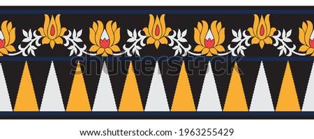 Tribal lotus flower border design