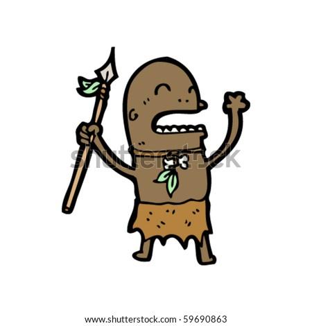 stock vector tribal man cartoon