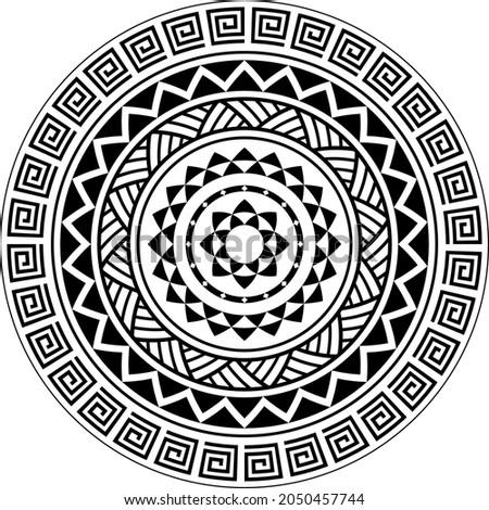 Tribal Mandala pattern, Abstract Circular Polynesian mandala, Polynesian Hawaiian tattoo style vector ornament design