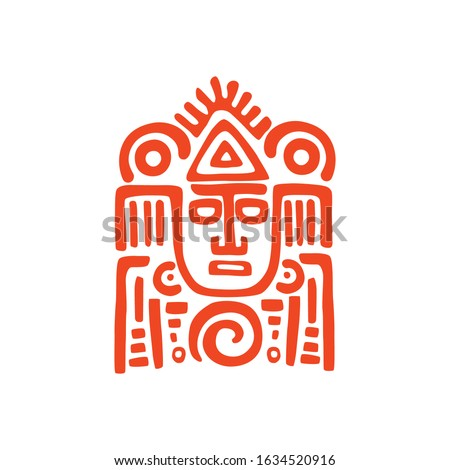 Tribal mask aztec or Mayan culture isolated totem. Vector indian or african tiki face, aztec souvenir or mascot. Warrior head with hair, inca and maya symbol, ethnic idol or shaman spiritual head