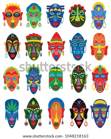 Tribal mask vector African face masque and masking ethnic culture in Africa illustration set of traditional masked symbol isolated on white background