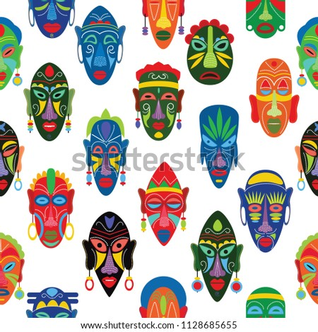 Tribal mask vector African face masque and masking ethnic culture in Africa illustration set of traditional masked symbol seamless pattern background