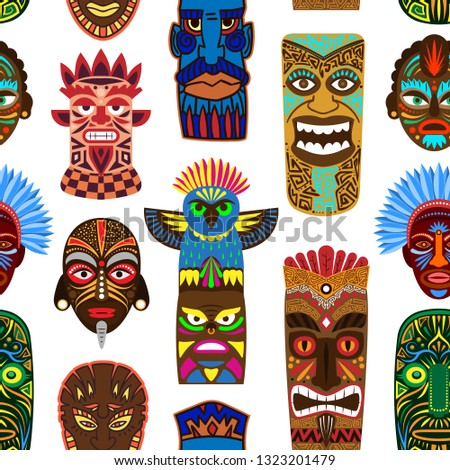 Tribal mask vector masking ethnic culture and aztec face masque illustration set of traditional aborigine masked symbol isolated on background