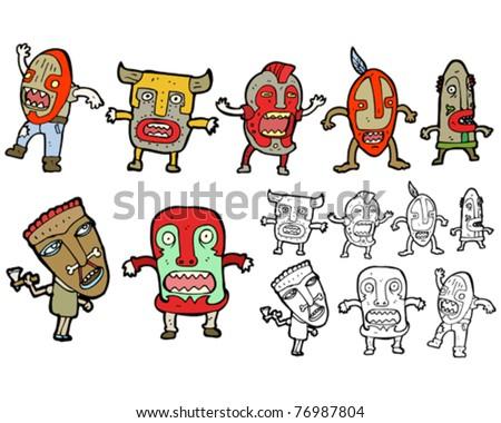 stock vector tribal masks cartoon
