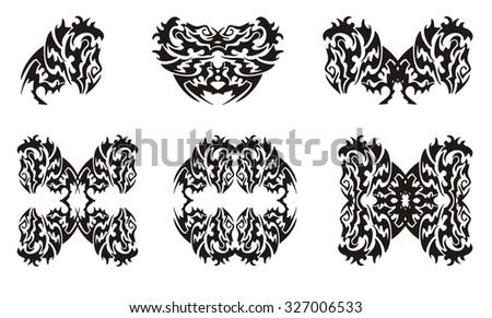 Tribal Monkey Symbols Gorilla Head And Gorilla Frames Isolated On A