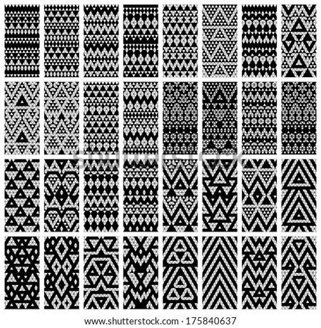 Tribal monochrome lace patterns Vector illustration
