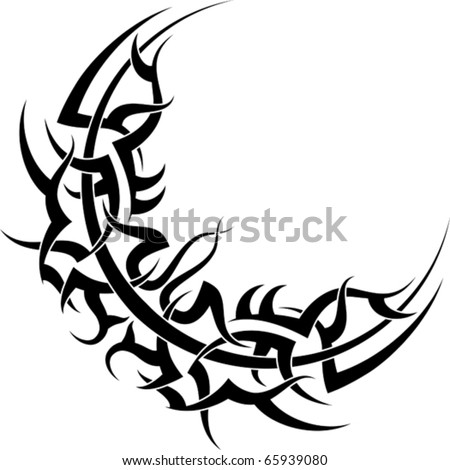 stock vector : Tribal Moon Tattoo