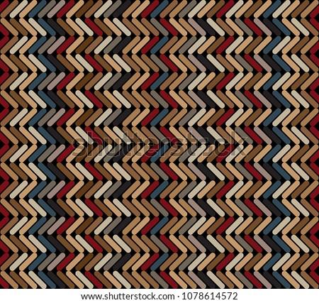 Tribal Multicolored Herringbone Dashed Tweed Pattern