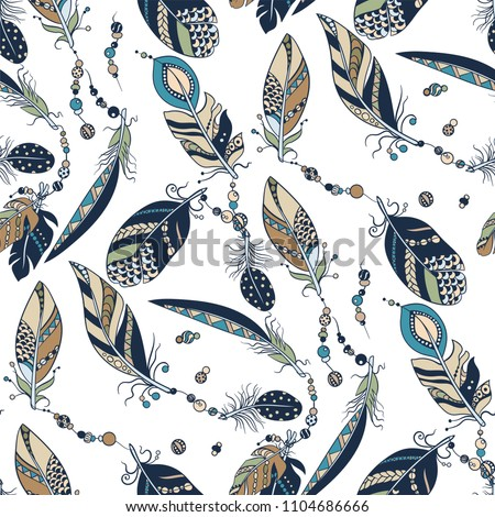 Tribal native seamless pattern with feathers and beads in vector graphic illustration with white background