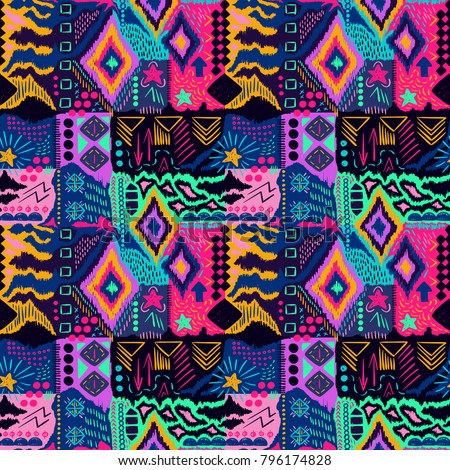 Tribal pattern. Ethnic print. Aztec. Abstract geometric fabric. Cloth design. Spiritual fashion. Tribal fabric. Mystical ornament. Ethnic pattern. Navajo textile. Boho homespun. Seamless vector.