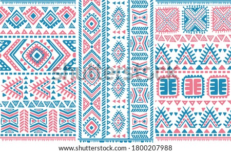 tribal pattern of north east,india. Ikat geometric folklore ornament. Tribal ethnic vector texture. Seamless striped pattern in Aztec style. Figure tribal embroidery. Indian,folk pattern.