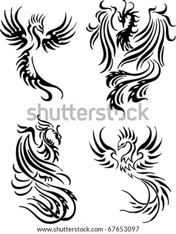 stock vector tribal phoenix maori tattoo
