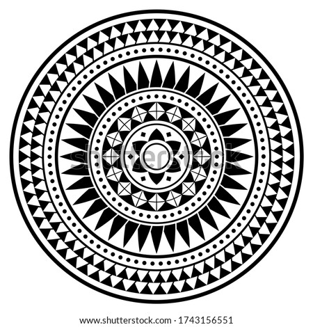 Tribal Polynesian mandala vector design, geometric Hawaiian tattoo style pattern in black and white. Boho mandala illustration, hippie monochrome design inspired by traditional art from Polynesia