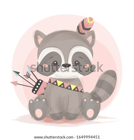 tribal raccoon illustration. animal clipart for scrapbooking and decoration.