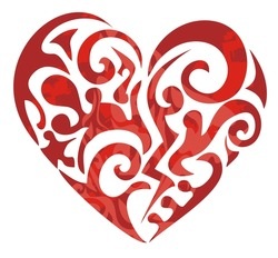 Tribal red heart