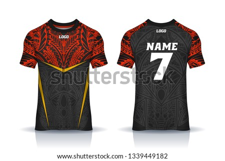 Tribal Red Yellow Rugby