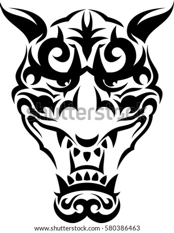 tribal scare japanese mask print for clothes cards picture banner