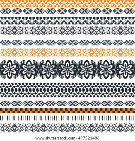 Tribal seamless pattern. Abstract background with ethnic ornament. Seamless background with different geometric shapes. Vector illustration #497521486