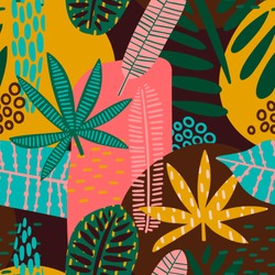 Tribal seamless pattern with abstract leaves. Hand draw texture. Vector template.