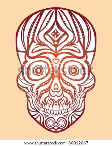 stock vector : Tribal Skull Tattoo - Vector Illustration