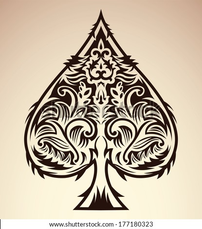 Tribal style design spade ace poker playing cards vector illustration